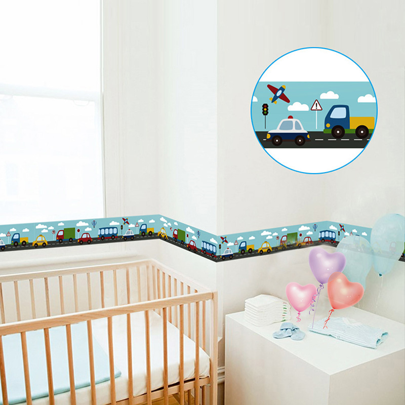 1Roll Cartoon Cute Animals Car Wall Stickers Children Boys Nursey Bedroom Waist line DIY Wall Decals Decor Mural Kids Gift