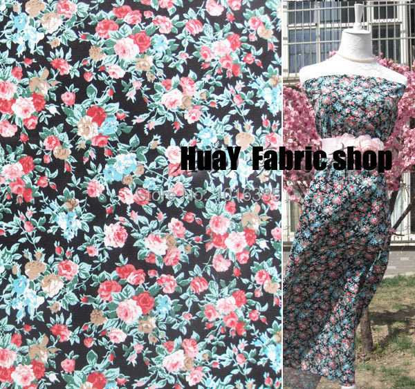 Hot sale 1.48 meter Width Vintage Black Rose Floral printed cotton Poplin fabric for sewing