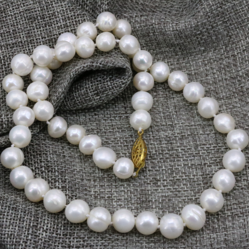 Charms 8-9mm white natural cultured freshwater nearround beads pearl necklace women lady prom weddings chain choker 18inch B3230