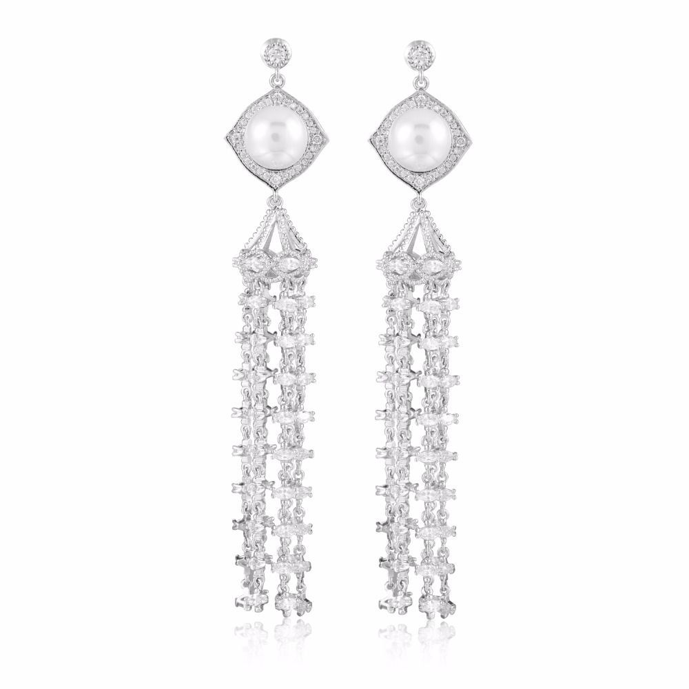 GrayBirds Ethnic Long Drop Tassels Earrings High Quality Clear Cubic Zirconia Pearl Lead And Nickel Free MLE075
