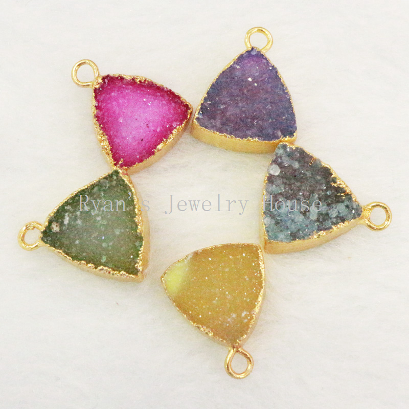 BOROSA Gold Mixed Color Natural Agates Druzy Stone Pendants&Charms