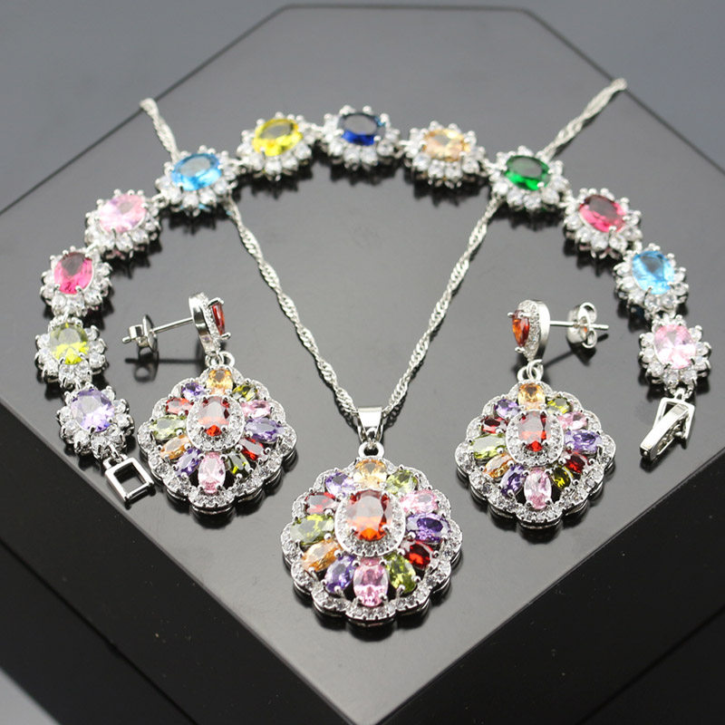 3PCS White zircon Multi-Gems Jewelry Set For Women Silver Color Crystal Necklace/Earring/Bracelets BNE13-008-02