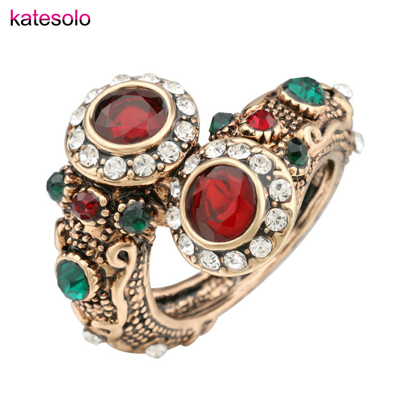 High Quality Unique Crystal Ring Ancient Gold Color Vintage Look Double Head Red Resin Stone Rings For Women Bohemia Jewelry