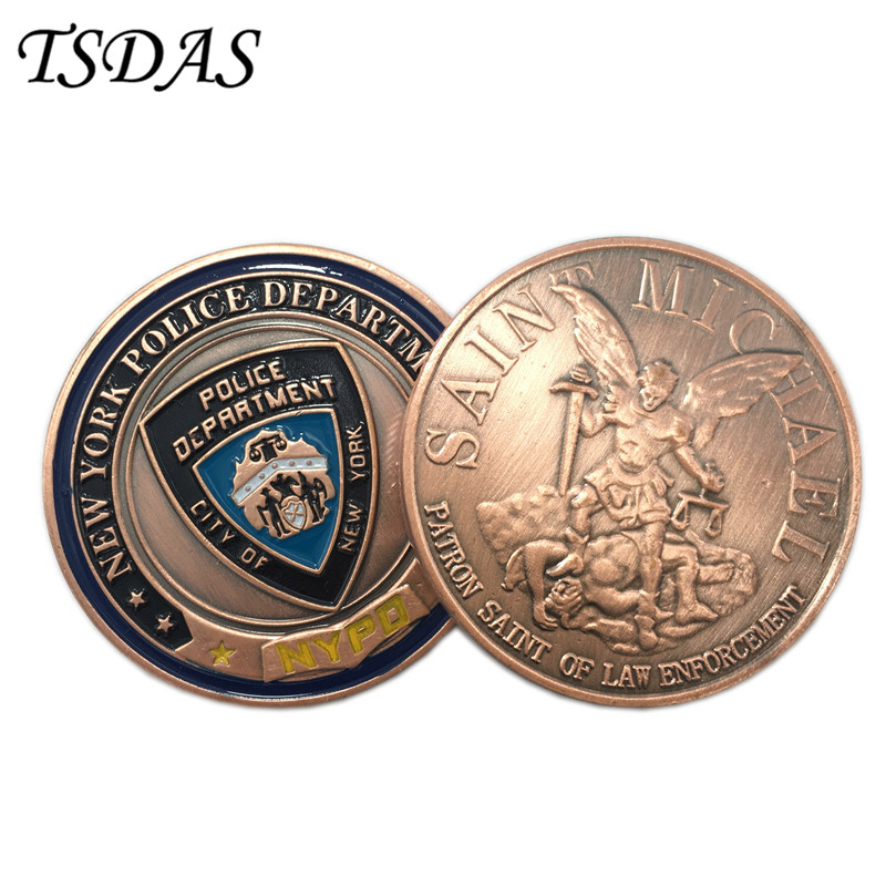 New York Police Department Bronze Military Coins For Collection, Army Challenge Coins With Round Plastic Box