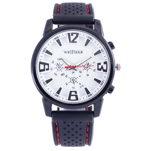 Top Brand Black Military Pilot Aviator Army Style Silicone Band 3D Dail Men Clock Outdoor Sport Quartz Wrist Watch